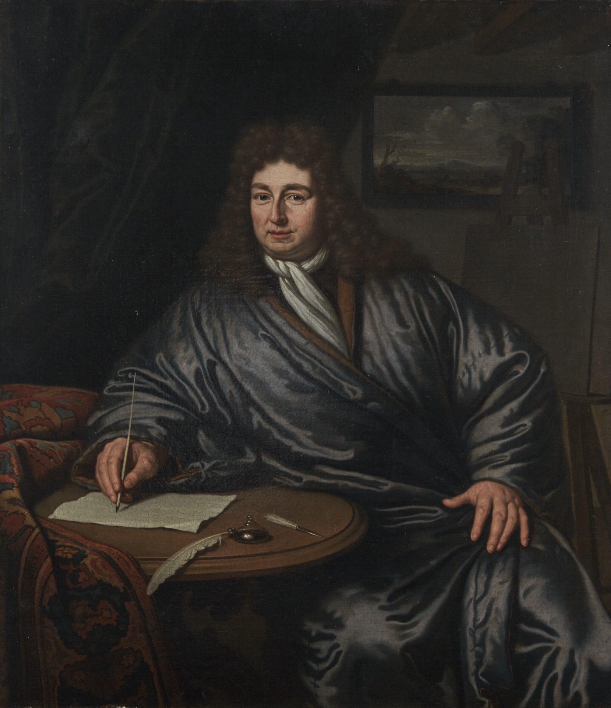 View full screen - View 1 of Lot 38. MICHIEL VAN MUSSCHER | Three quarter-length portrait of an artist seated at his writing table.