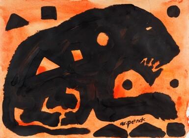 View 1. Thumbnail of Lot 105. Ohne Titel (Lion black)      .