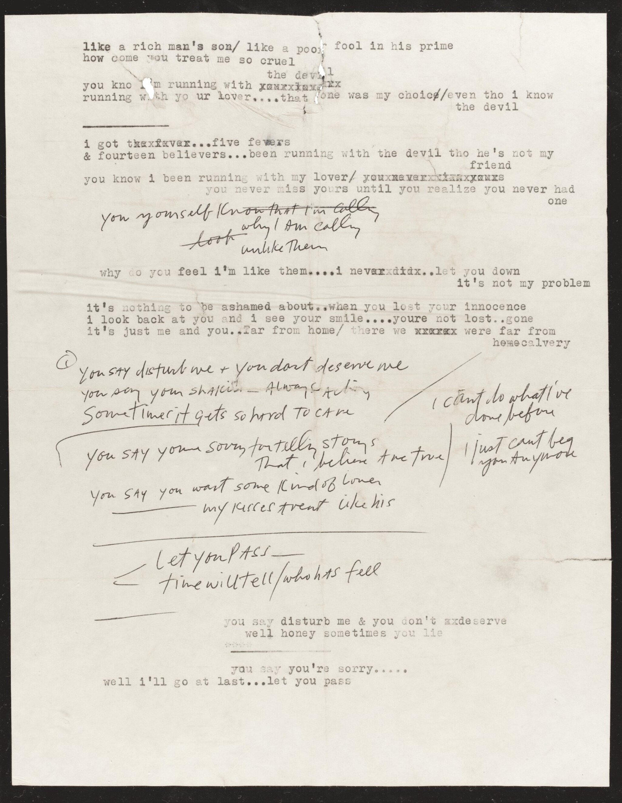 View full screen - View 1 of Lot 50. DYLAN   Typescript and manuscript lyrics, 1966.