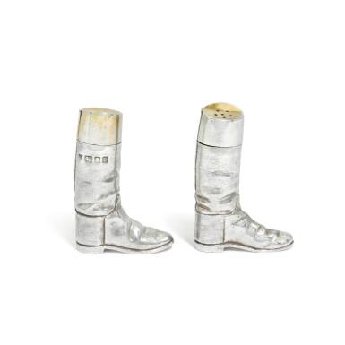 View 1. Thumbnail of Lot 118. A pair of novelty Elizabeth II silver salt and pepper shakers, Garrard & Co. Ltd., London, 1991.