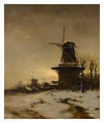 CONSTANT ARTZ  |  A WINDMILL AND A VILLAGE ON THE EDGE OF A SNOWY MEADOW