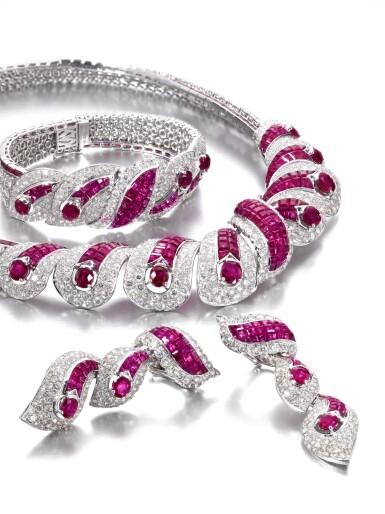 View 2. Thumbnail of Lot 639. Mouawad   Ruby and diamond parure   Mouawad   紅寶石配鑽石首飾套裝.