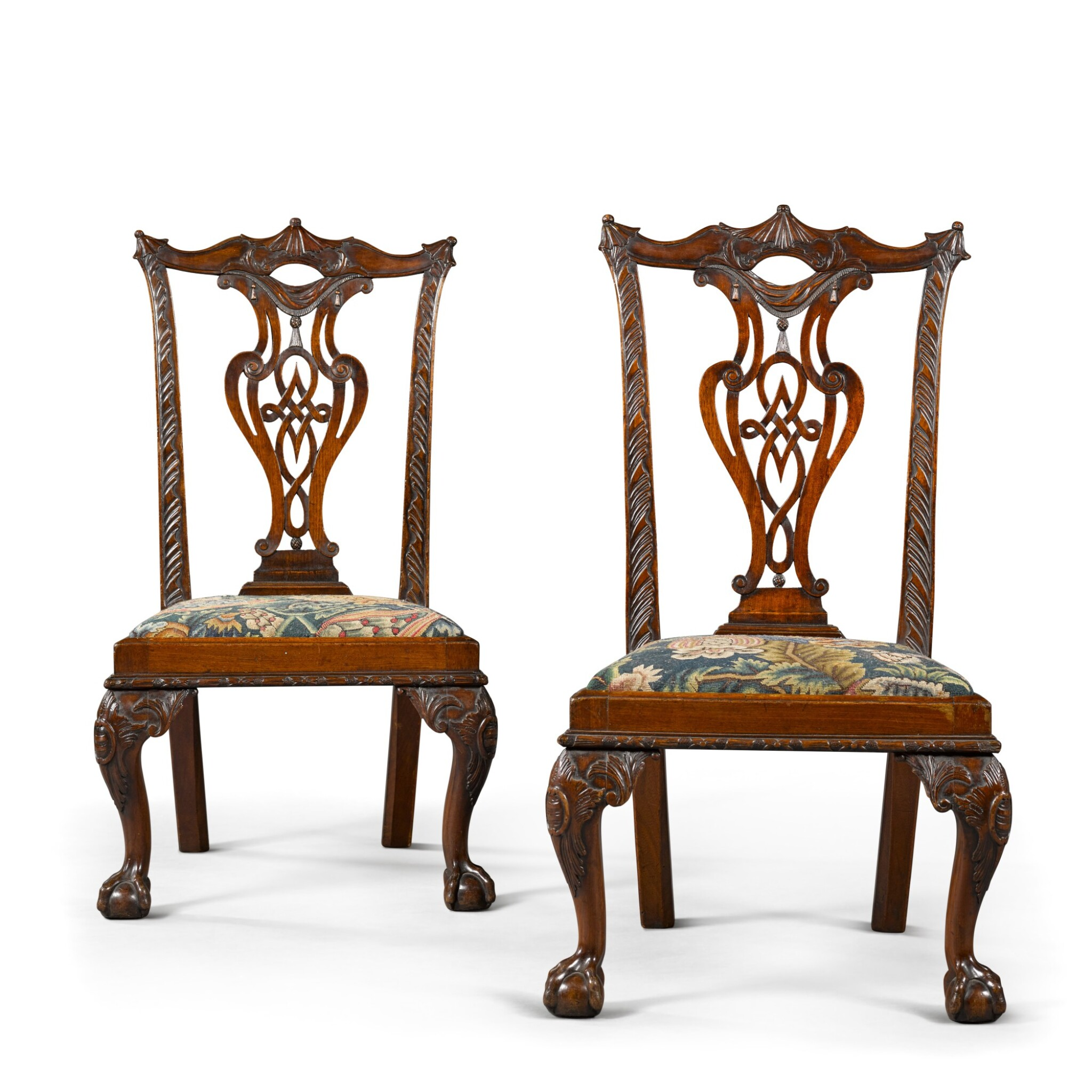 View full screen - View 1 of Lot 71. A pair of George II carved mahogany 'child's' chairs, circa 1750.