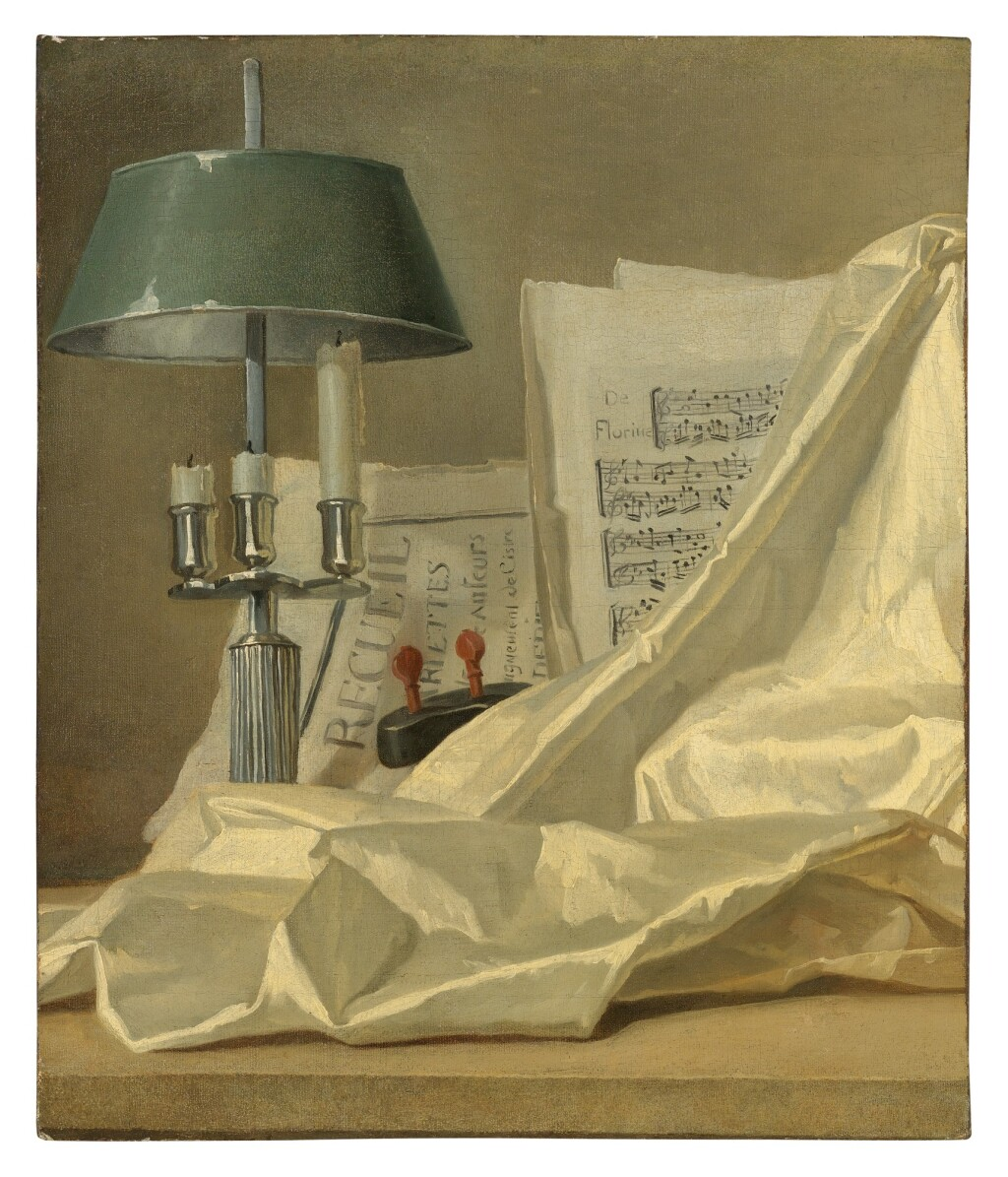 ATTRIBUTED TO HENRI-HORACE ROLAND DE LA PORTE     A STILL LIFE WITH A BOUILLETTE LAMP, A SHEET OF MUSIC, A VIOLIN OR A CITTERN, AND A WHITE SATIN CLOTH ON A STONE LEDGE