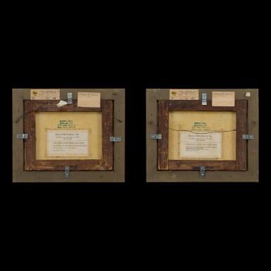 View 2. Thumbnail of Lot 184. Chinese School, mid 19th century Gentleman and Ladies Playing Chess and Ladies Buying Flowers | 中國畫派 十九世紀中葉   對弈圖、賣花圖一組兩幅 布本油畫 木框.