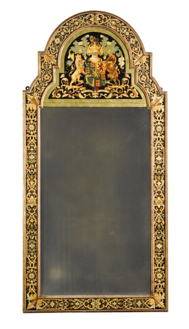 View 1. Thumbnail of Lot 40. A William III style polychrome and gilt verre eglomisé armorial marginal pier mirror, early 20th century.