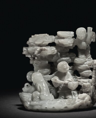 View 4. Thumbnail of Lot 209. AN EXCEPTIONALLY RARE PALE GREEN AND RUSSET JADE 'DAOIST IMMORTALS' GROUP,  QING DYNASTY, KANGXI / YONGZHENG PERIOD.