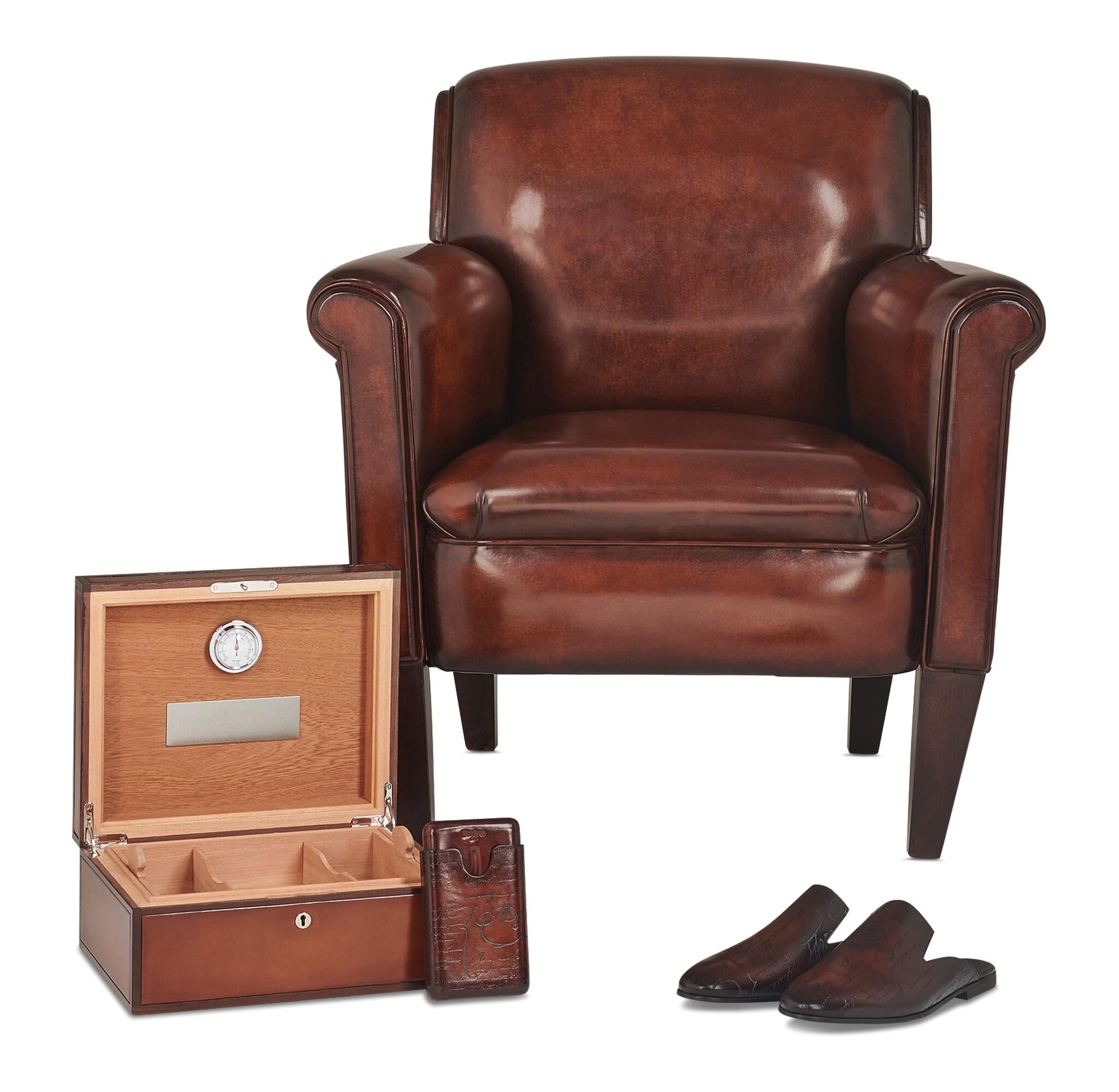 View full screen - View 1 of Lot 3. Berluti   Cigar Box, Cigar Case, Club Chairs and Cyrus Slippers (Boîte à Cigares, Étui à Cigares, Fauteuils Club et Slipper Cyrus ) [5 Items / Articles].