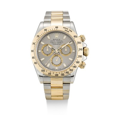 ROLEX  |  COSMOGRAPH DAYTONA, REFERENCE 116523,  A STAINLESS STEEL AND YELLOW GOLD CHRONOGRAPH WRISTWATCH WITH BRACELET, CIRCA 2011