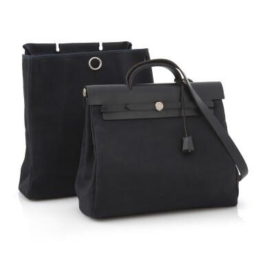 Black canvas and black leather tote with palladium hardware, 2 in 1 Herbag, Hermès