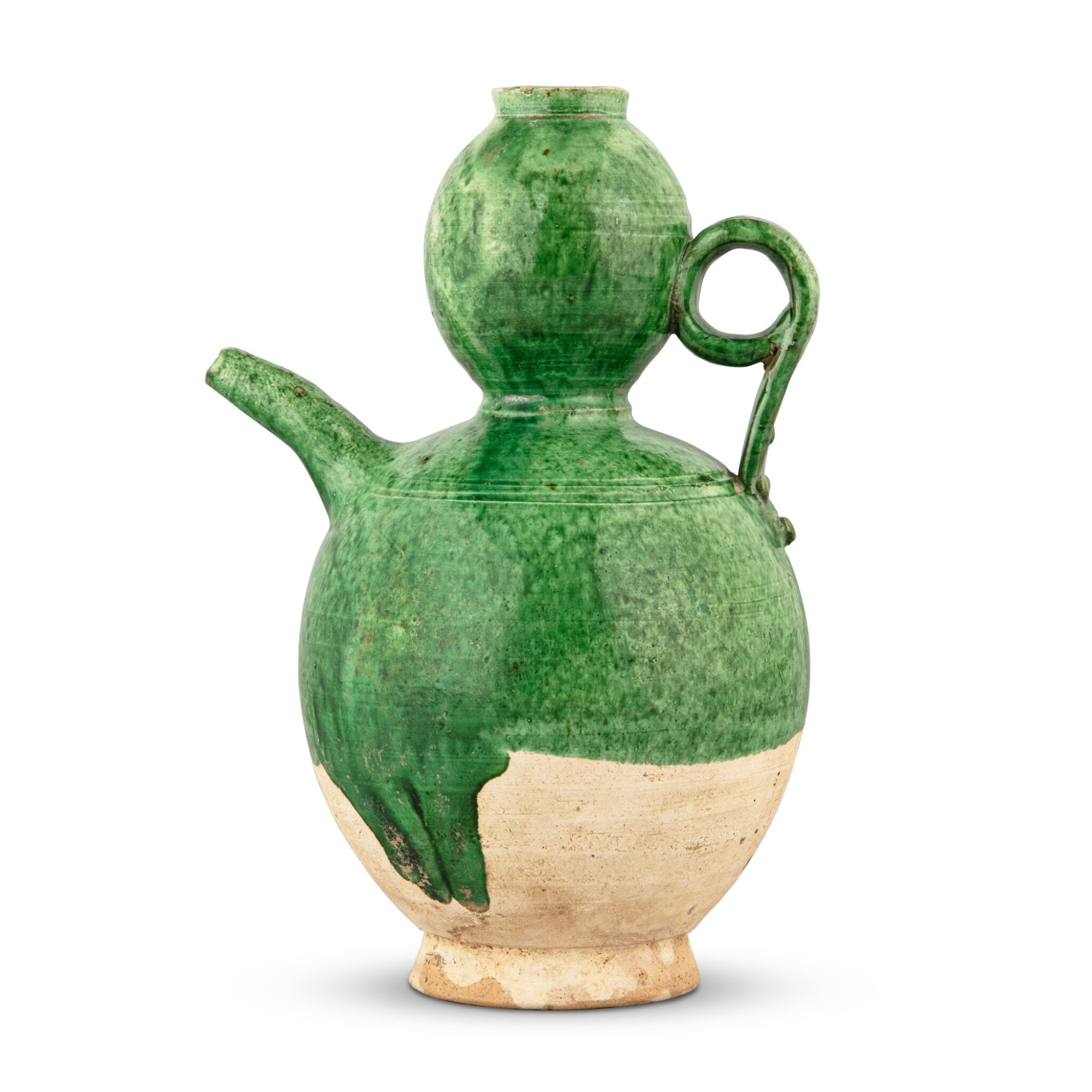 View full screen - View 1 of Lot 201. A green-glazed pottery 'double-gourd' ewer, Liao dynasty | 遼 綠釉葫蘆形執壺.