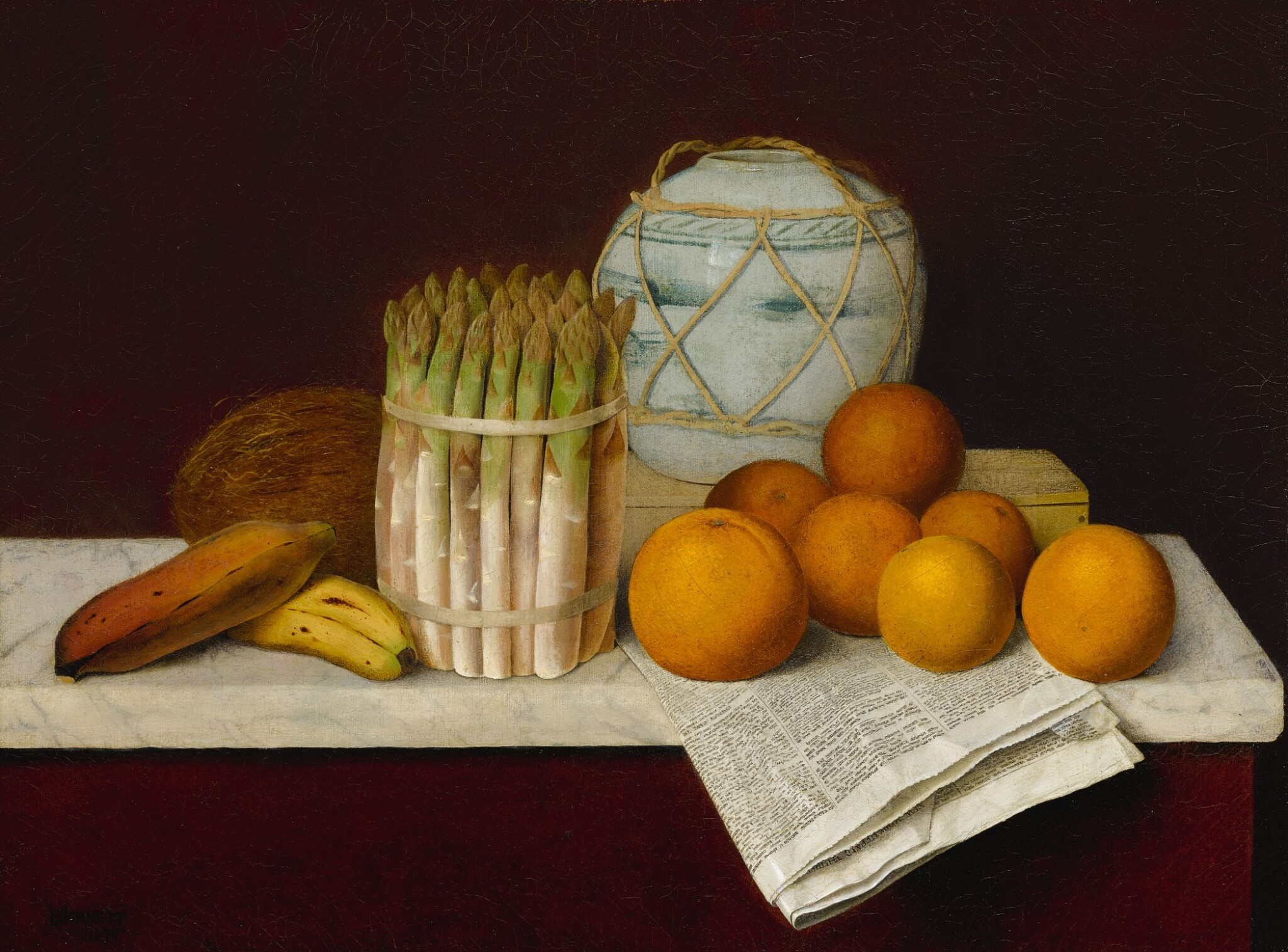 View full screen - View 1 of Lot 6. WILLIAM MICHAEL HARNETT   FRUIT AND ASPARAGUS.