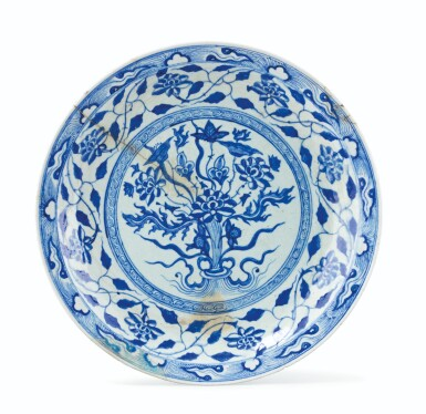 View 1. Thumbnail of Lot 180. A Large Blue and White Pottery Dish, Persia, circa 1600.