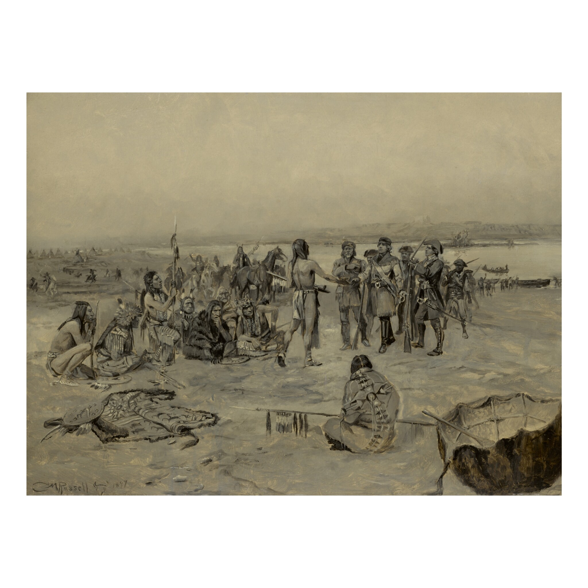View full screen - View 1 of Lot 48. CHARLES MARION RUSSELL |  LEWIS AND CLARK MEETING THE MANDANS (LEWIS AND CLARK EXPEDITION).