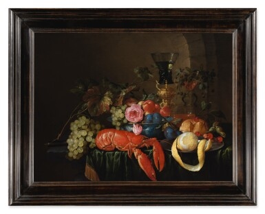 View 3. Thumbnail of Lot 122. CORNELIS DE HEEM     STILL LIFE WITH A LOBSTER, A PEELED LEMON ON A PEWTER PLATTER, A ROEMER, AND FRUITS ON A STONE LEDGE WITH GREEN DRAPE.