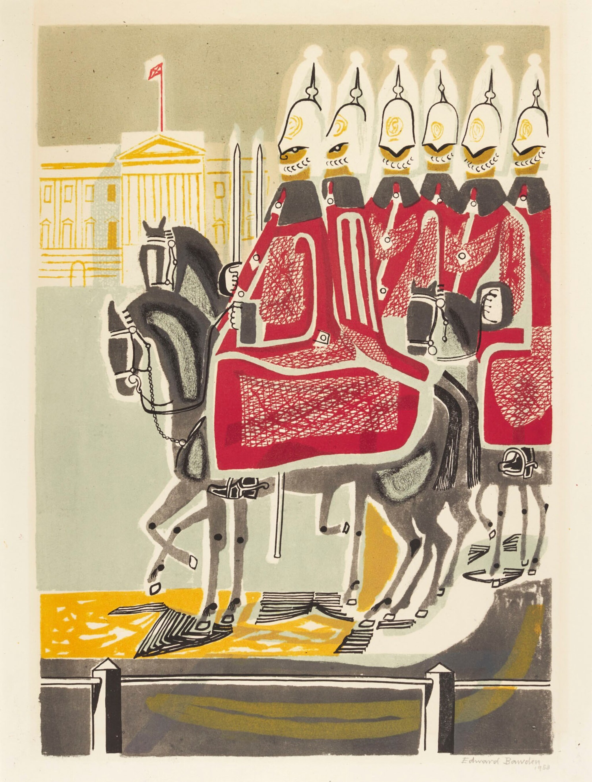 View full screen - View 1 of Lot 114. EDWARD BAWDEN, R.A. | LIFE GUARDS.