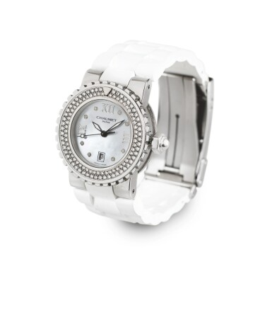 CHAUMET | CLASS ONE, STAINLESS STEEL DIAMOND-SET WRISTWATCH WITH DATE AND MOTHER OF PEARL DIAL [CLASS ONE,  MONTRE ACIER SERTIE DIAMANTS AVEC DATE ET CADRAN EN NACRE]
