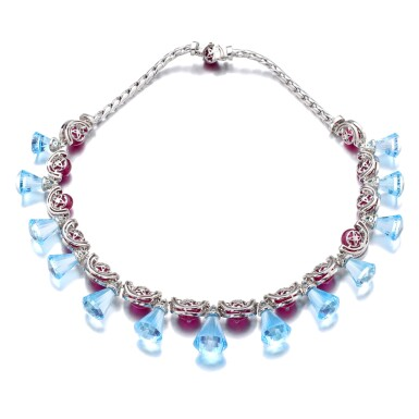 View 2. Thumbnail of Lot 35. MICHELE DELLA VALLE | RUBY, BLUE TOPAZ AND DIAMOND NECKLACE.