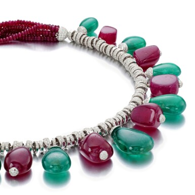 View 2. Thumbnail of Lot 13. MICHELE DELLA VALLE | RUBY, EMERALD AND DIAMOND NECKLACE.