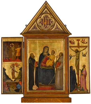FLORENTINE SCHOOL, LATE 14TH CENTURY | A TRIPTYCH: THE MADONNA AND CHILD WITH SAINTS DOMINIC AND FRANCIS (CENTRAL PANEL); THE FLAGELLATION AND THE RESURRECTION (LEFT WING); THE CRUCIFIXION (RIGHT WING)