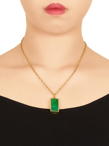 View 4. Thumbnail of Lot 1681. Jadeite Pendent Necklace | 天然翡翠 配 鑽石 項鏈.