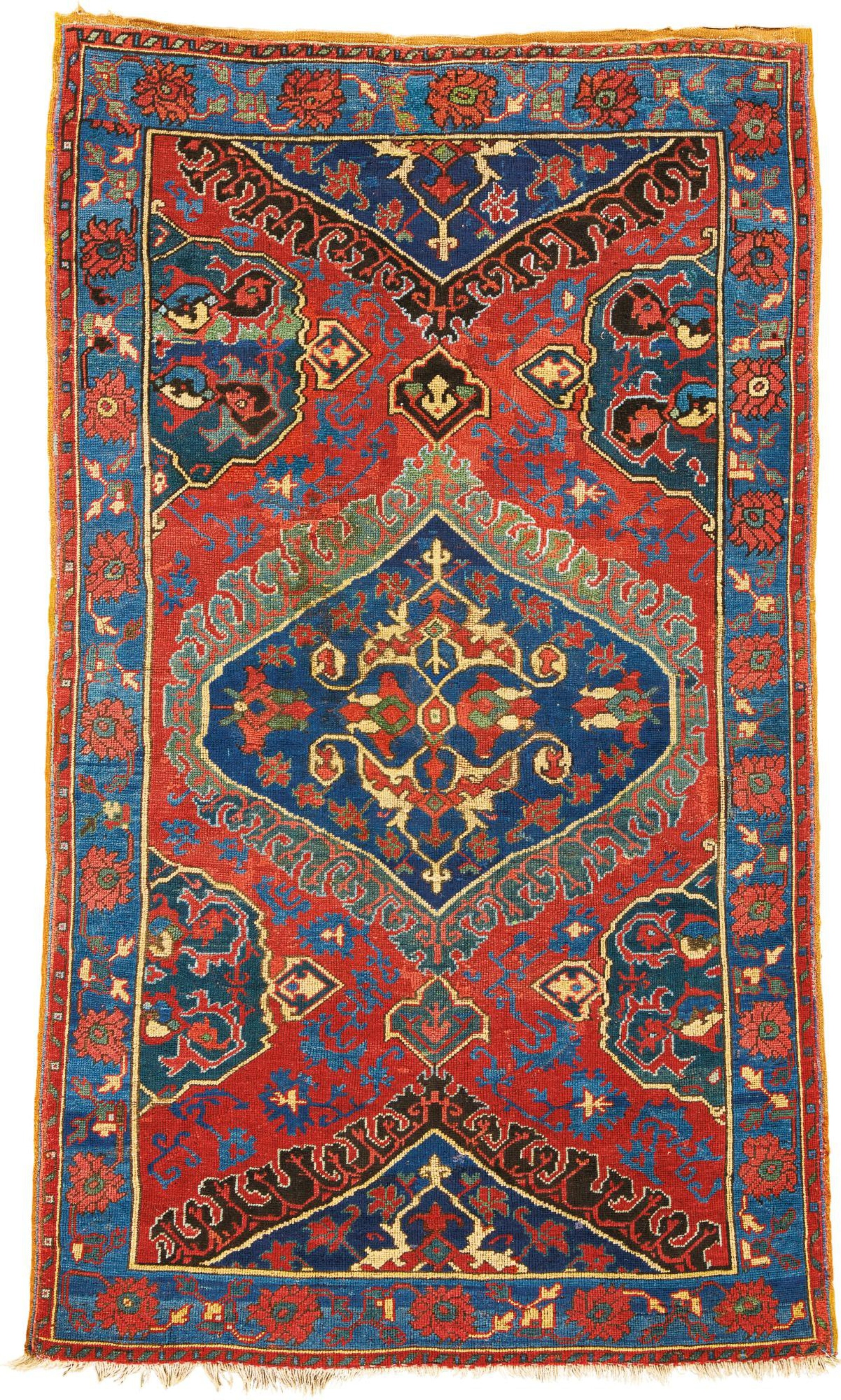 View full screen - View 1 of Lot 306. A RARE SMALL OUSHAK 'MEDALLION' RUG, WEST ANATOLIA.