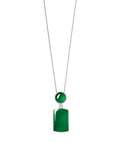 View 1. Thumbnail of Lot 1725. Jadeite and Diamond Pendent Necklace | 天然翡翠 配 鑽石 項鏈.