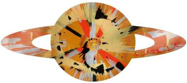 DAMIEN HIRST | BEAUTIFUL CREME EGG IN THE SKY SPIN PAINTING FOR CARL