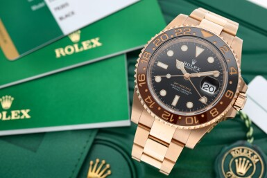 View 7. Thumbnail of Lot 15. ROLEX | REFERENCE 126715 GMT-MASTER II 'ROOT BEER' A PINK GOLD AUTOMATIC DUAL TIME ZONE WRISTWATCH WITH DATE AND BRACELET, CIRCA 2018.