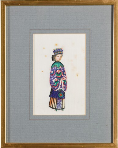 View 13. Thumbnail of Lot 163. A set of fourteen Chinese paintings on silk, Canton, 19th century.