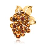 CARTIER | CITRINE AND DIAMOND CLIP-BROOCH