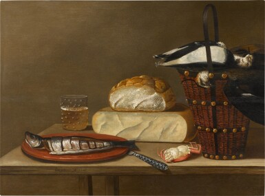 View 1. Thumbnail of Lot 61. Still life with a herring, cheese, crab and songbirds.
