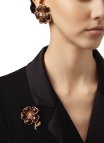GOLD, WOOD AND DIAMOND 'CLÉMATITE' CLIP-BROOCH AND PAIR OF EARCLIPS, VAN CLEEF & ARPELS, FRANCE