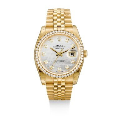 ROLEX  |  DATEJUST, REFERENCE 116238,  A YELLOW GOLD AND DIAMOND-SET WRISTWATCH WITH DATE, MOTHER-OF-PEARL DIAL AND BRACELET, CIRCA 2018
