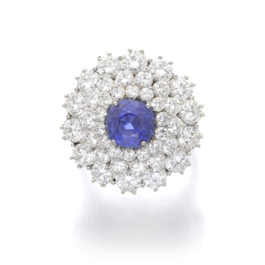 View 1. Thumbnail of Lot 99. SAPPHIRE AND DIAMOND RING.