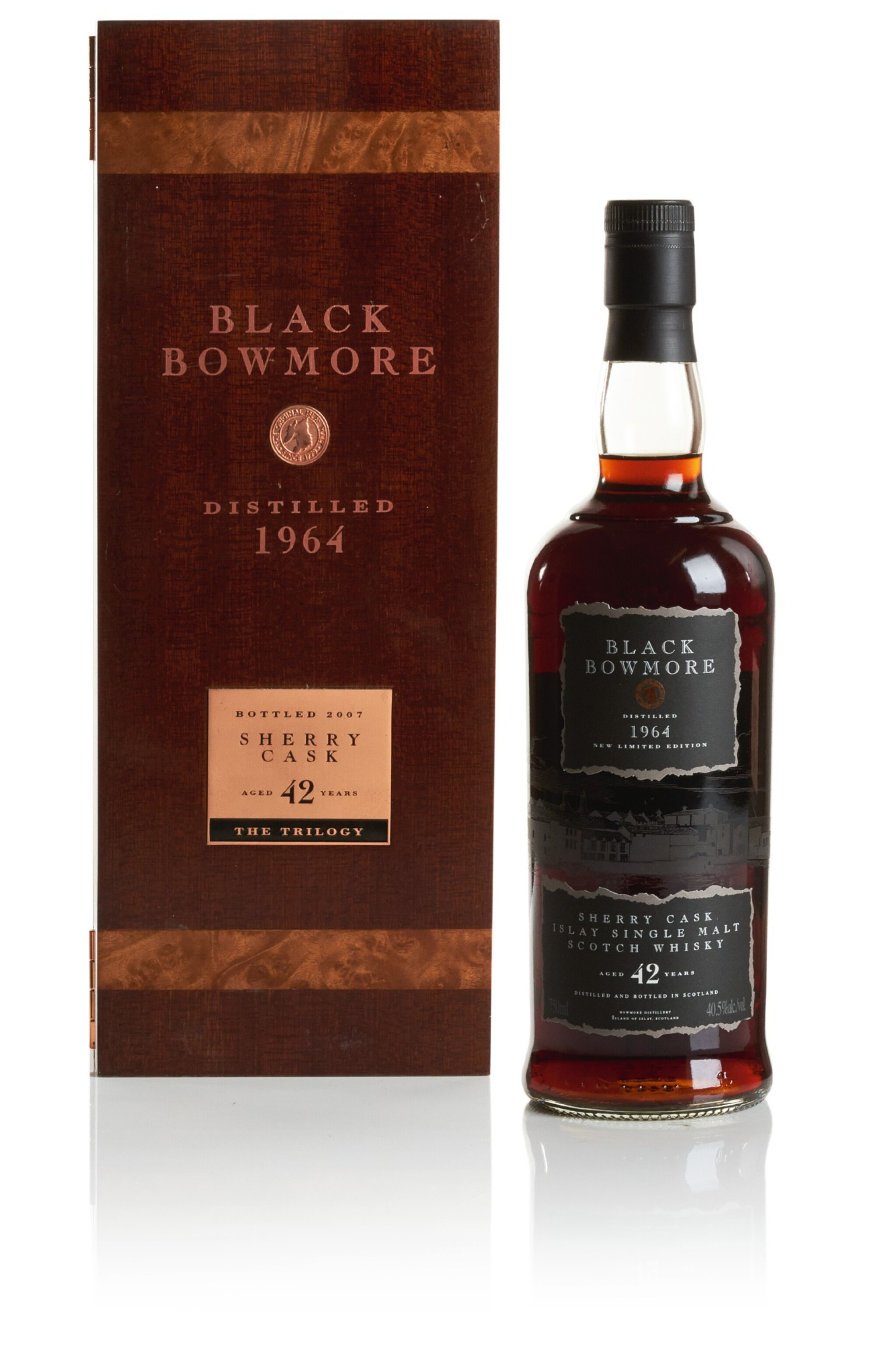 View full screen - View 1 of Lot 319. BOWMORE BLACK SHERRY CASK 42 YEAR OLD 40.5 ABV 1964   .
