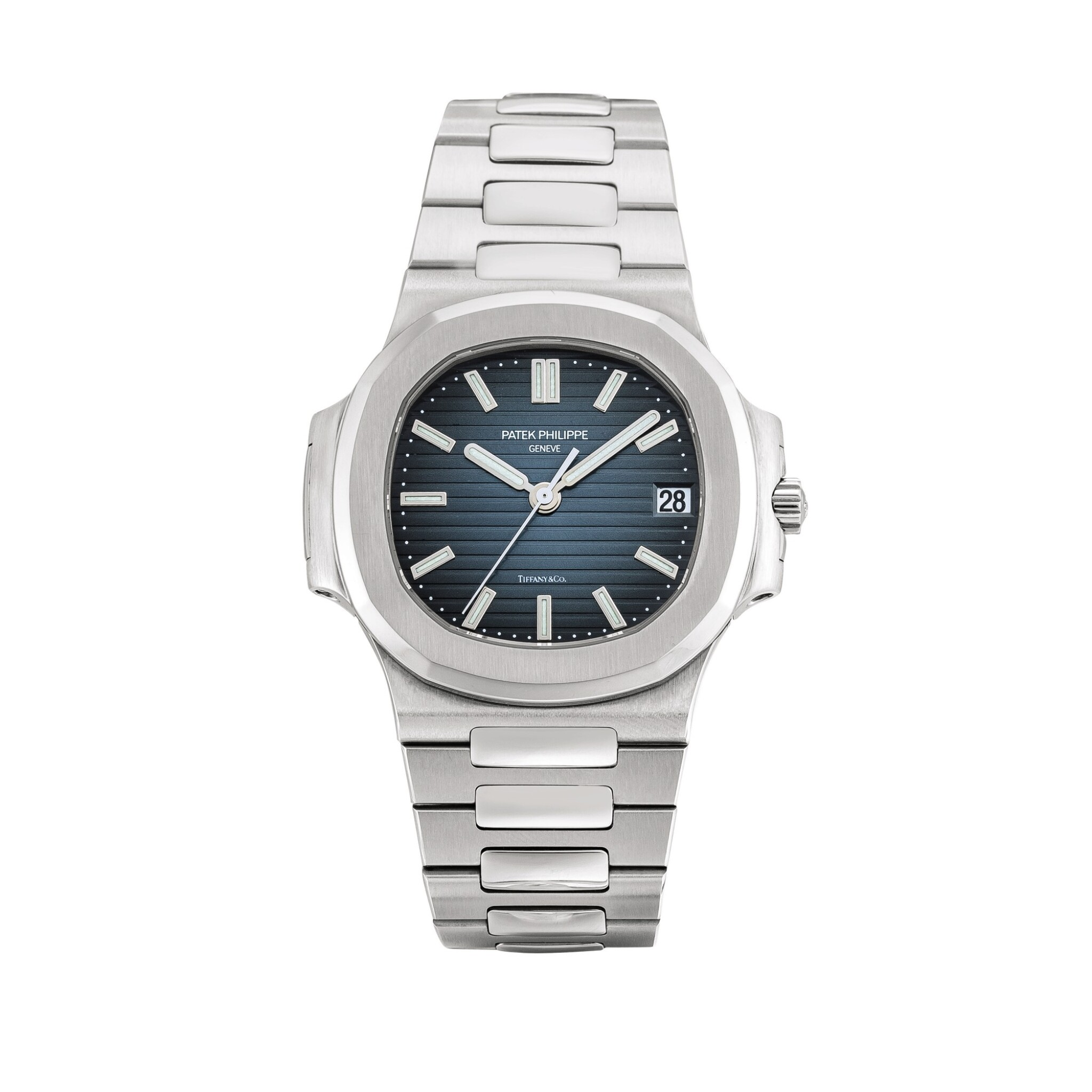 View full screen - View 1 of Lot 2087. Patek Philippe   Nautilus, Reference 5800, A stainless steel bracelet watch with date, Retailed by Tiffany & Co., Circa 2008   百達翡麗   Nautilus 型號5800   精鋼鏈帶腕錶,備日期顯示,由 Tiffany & Co. 發行,約2008年製.