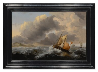 View 2. Thumbnail of Lot 622. Ships in a stormy sea, with a dune coast beyond.