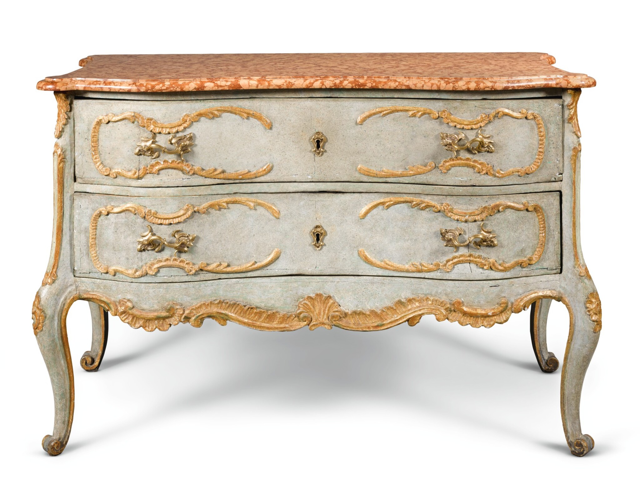 View full screen - View 1 of Lot 19. A SOUTH GERMAN CARVED, PARCEL-GILT AND PAINTED COMMODE.