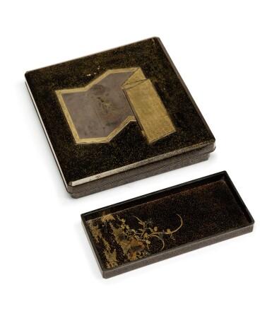 View 3. Thumbnail of Lot 76. A rectangular nashiji gold and silver inlaid suzuribako, Japan, Edo period, 18th century.