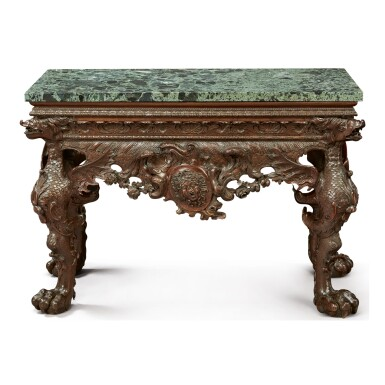 View full screen - View 1 of Lot 111.  A GEORGE II CARVED WALNUT SIDE TABLE, CIRCA 1745.