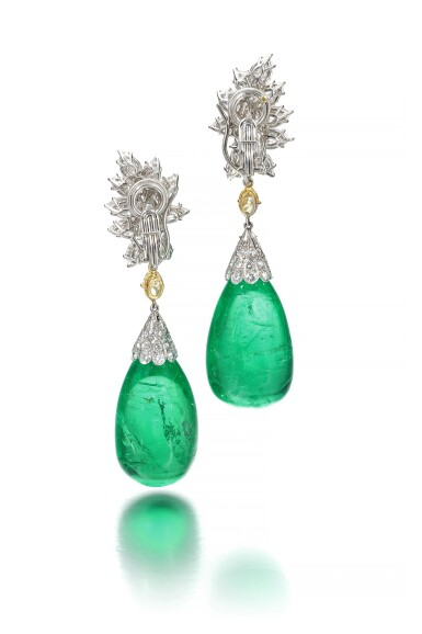 View 3. Thumbnail of Lot 107. Harry Winston | Pair of impressive emerald and diamond ear clips.