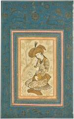 A SEATED YOUTH WITH A WINE CUP, PERSIA, QAJAR, SAFAVID STYLE, SECOND HALF 19TH CENTURY