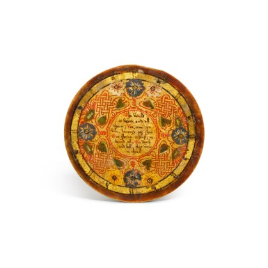 View 11. Thumbnail of Lot 1. A set of twelve Elizabethan polychrome decorated sycamore roundels, late 16th/early 17th century.