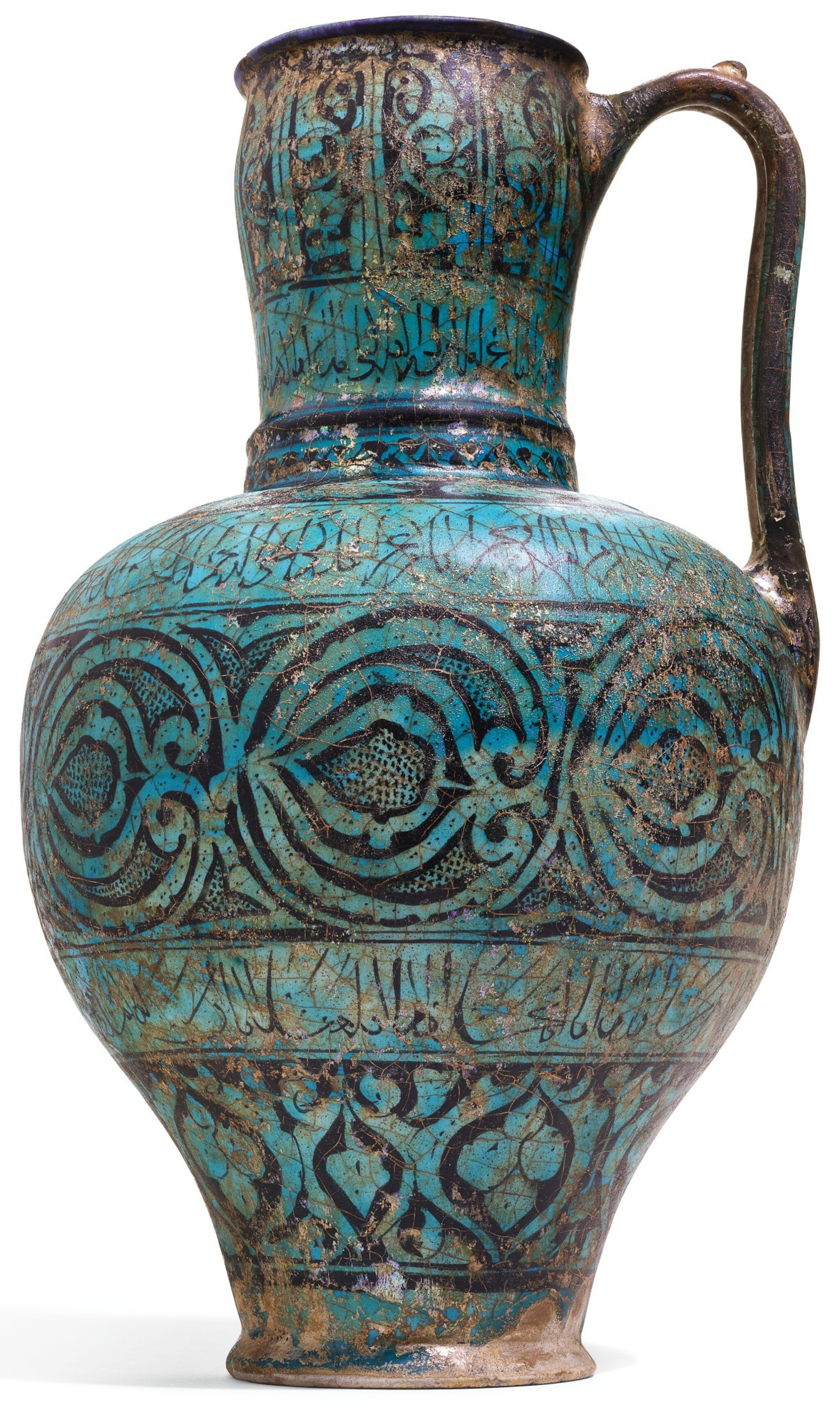 View full screen - View 1 of Lot 98. A RARE AND IMPORTANT KASHAN TURQUOISE GLAZED POTTERY PITCHER, PERSIA, CIRCA 1200-20 AD.