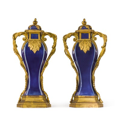 View 3. Thumbnail of Lot 126. A pair of Louis XVI gilt-bronze mounted Chinese blue porcelain baluster vases, the mounts circa 1780, the porcelain Qing dynasty, Qianlong (1736-1795).