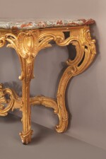 A LOUIS XV GILTWOOD CONSOLE WITH A MOTTLED RED AND WHITE MARBLE TOP, CIRCA 1750