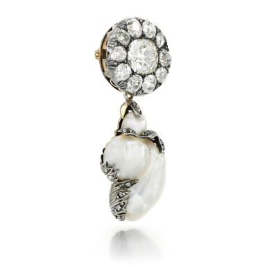 View 2. Thumbnail of Lot 64. BLISTER PEARL AND DIAMOND BROOCH.