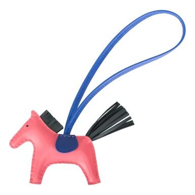 Hermès Rose Azalee/Vert Cypress/Bleu Electric Horse Rodeo Bag Charm PM
