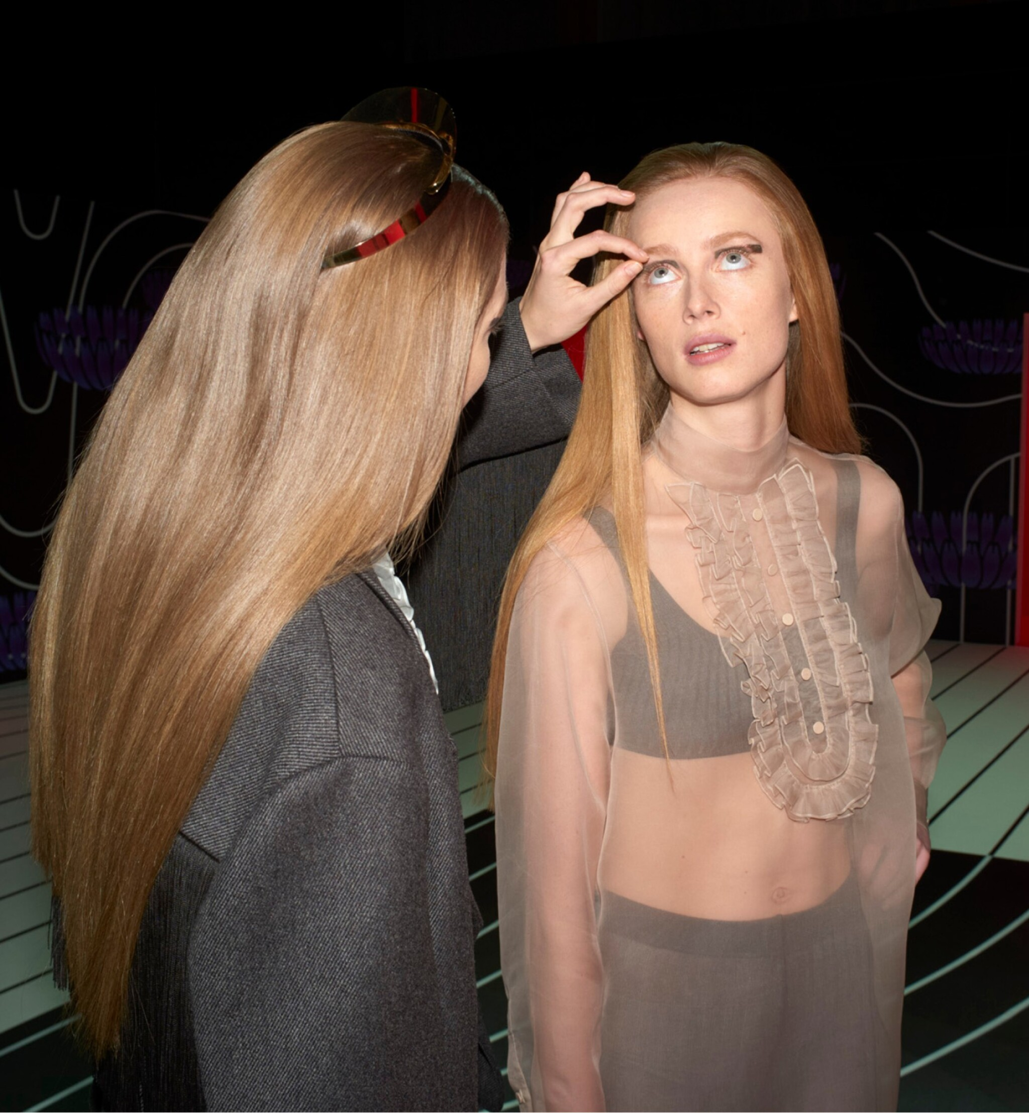 View full screen - View 1 of Lot 5. DANIEL ARNOLD    PRE-SHOW PHOTOGRAPHS OF GIGI HADID, RIANNE VAN ROMPAEY AND KAIA GERBER.